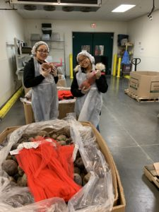 students packing beets